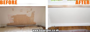 WALL AND SKIRTING REPAIRED AND PAINTED