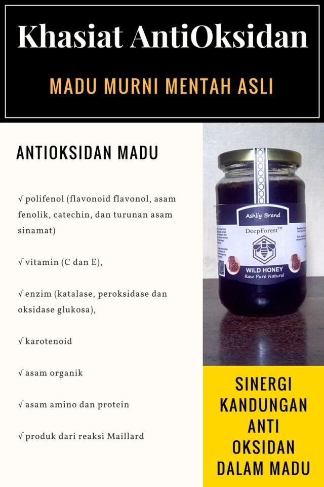 antioksidan penting dalam madu mentah murni alami