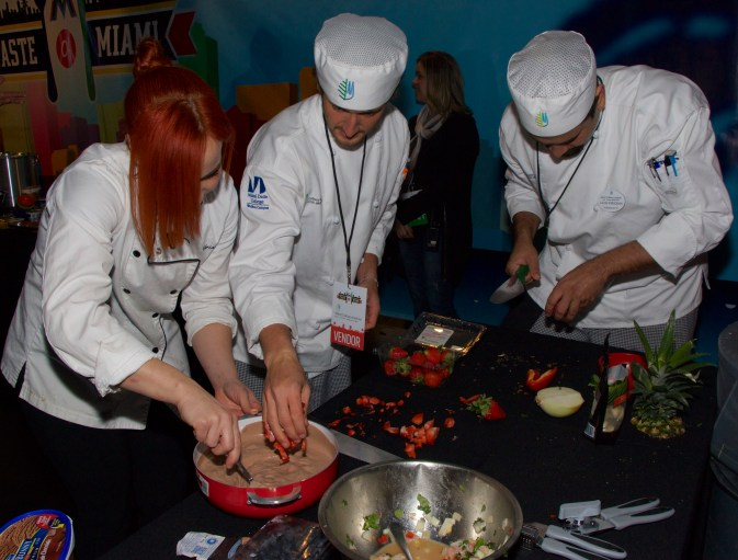 Countdown but Chef Adrianne remains cool under pressure with some help from MCI students @ Taste of Miami 2015