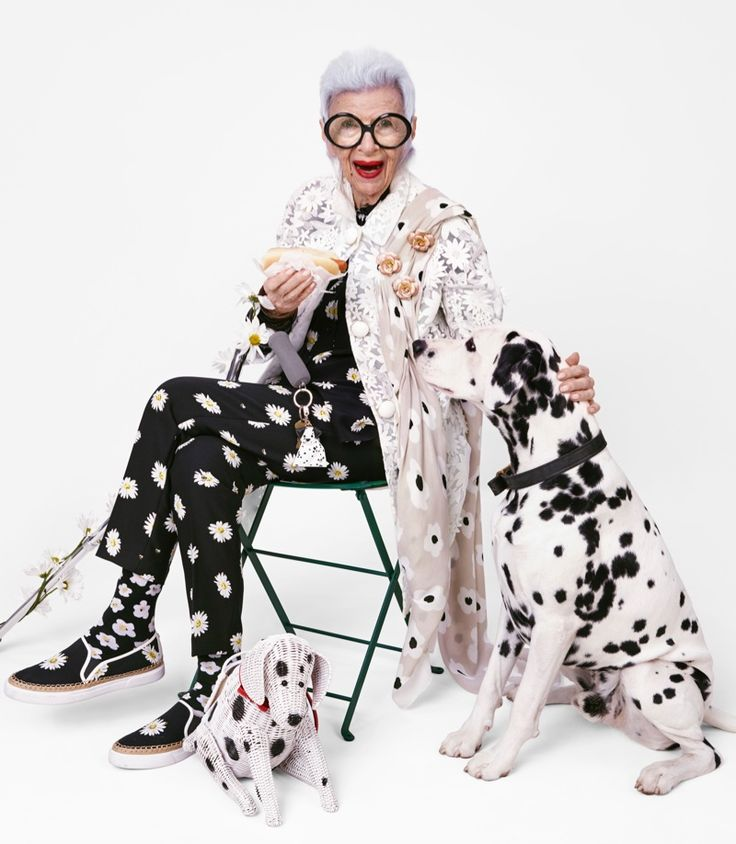 Iris Apfel sports a black and white outfit for women over 50