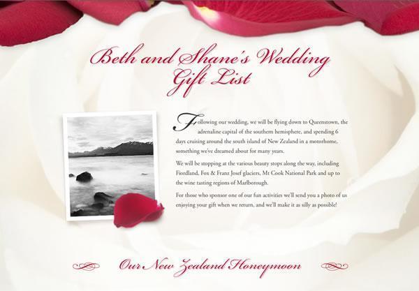 A Wedding Registry Using The Rose Petals Theme