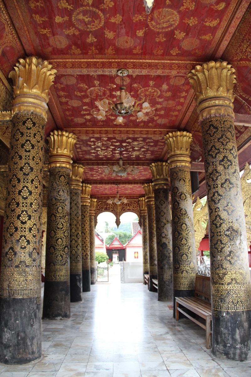 Columns of Wat Mai Suwannaphumaham Luang Prabang