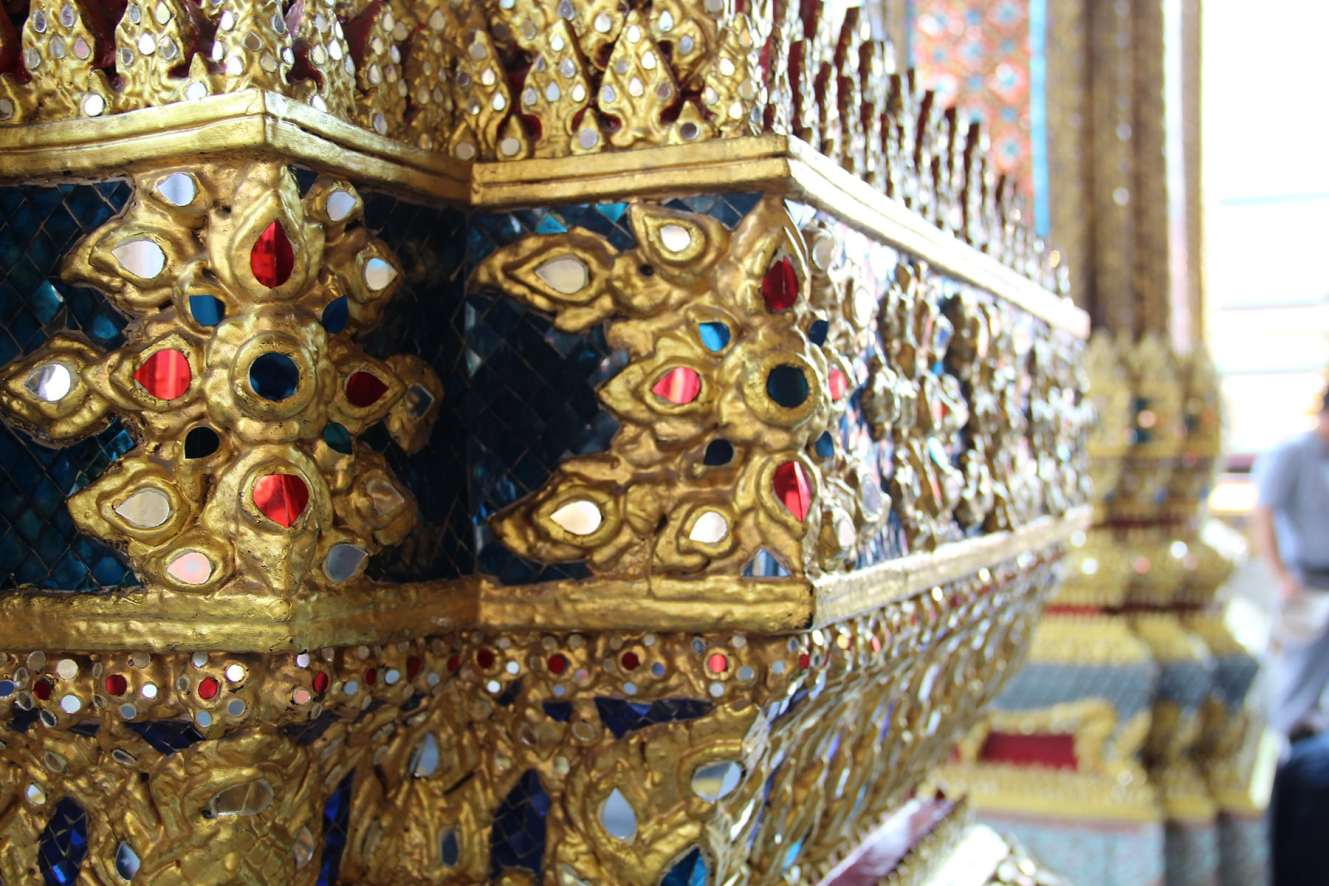 Blue column decorations of Bangkok Grand palace with blue and red precious stones