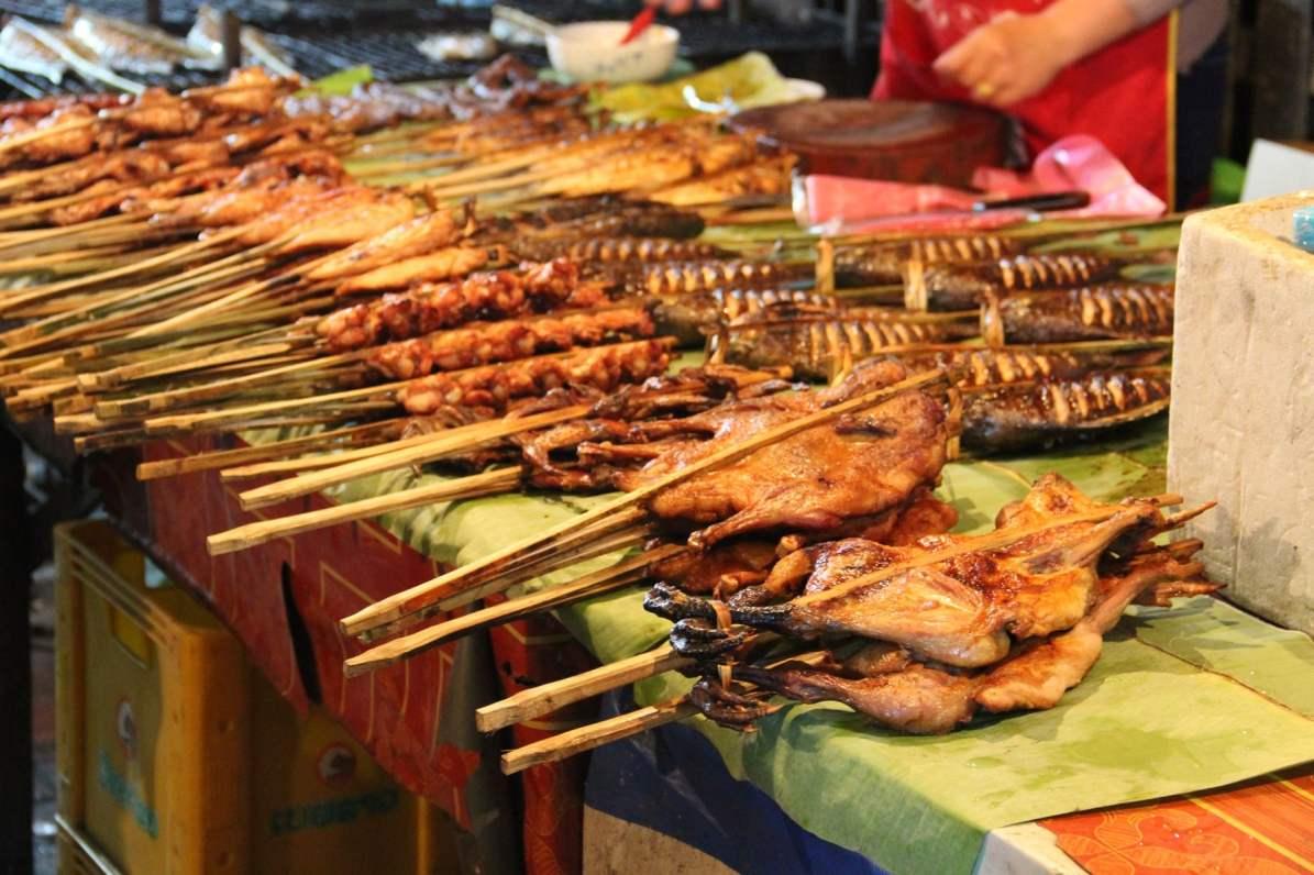 Chicken skewers at night market Luang Prabang