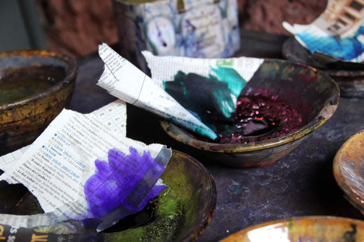 Purple and green pigments in the Dyers souk in Marrakech