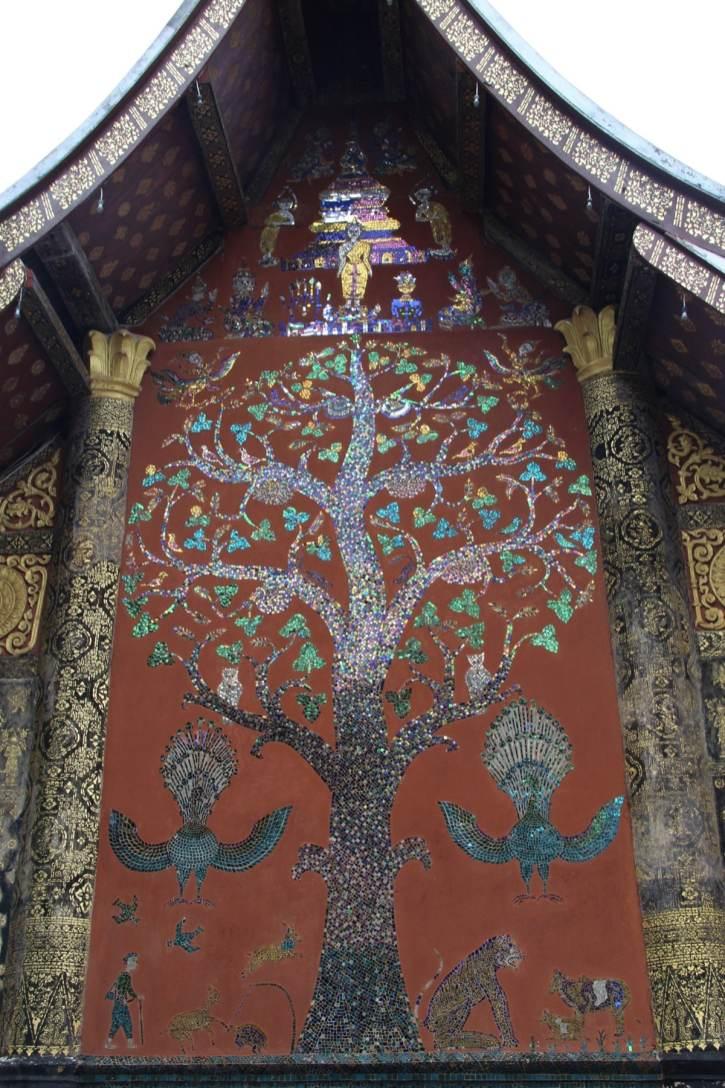 Tree of life mosaic in Wat Xieng Thong Luang Prabang