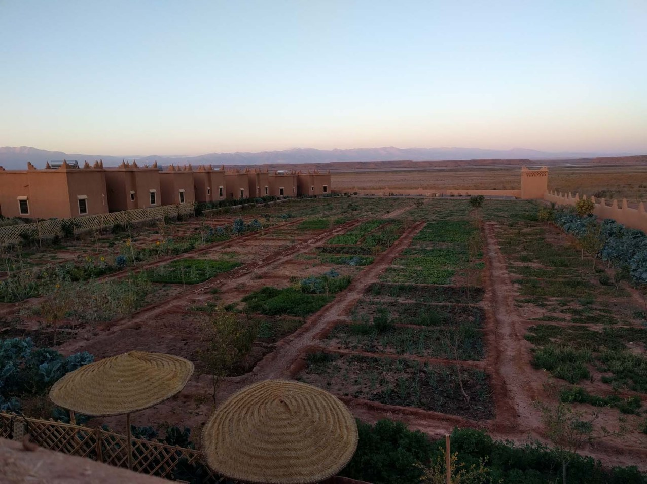 Giardino e bungalows nella nostra ecolodge a Ouarzazate