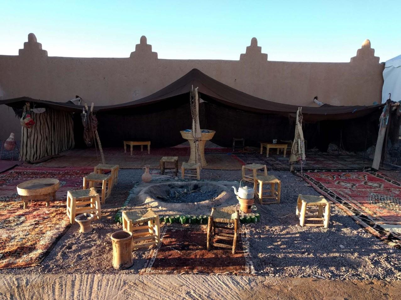 Posto dedicato al falò nella nostra ecolodge a Ouarzazate