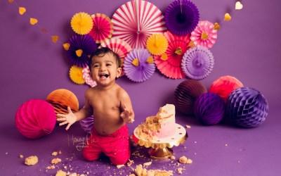 West Sussex Cake Smash Photos | Vedu 1st Birthday