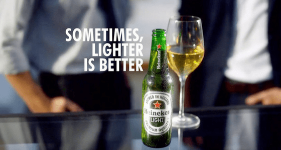 bad heineken commercial with light beer stating that sometimes lighter is better