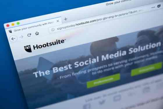 Hootsuite screen for social media analytics