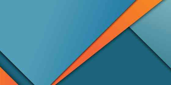 Material Design example with various shades of blue and streaks of orange layered into design.