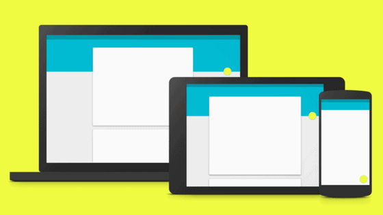 google's material design show on laptop, tablet, and mobile smartphone