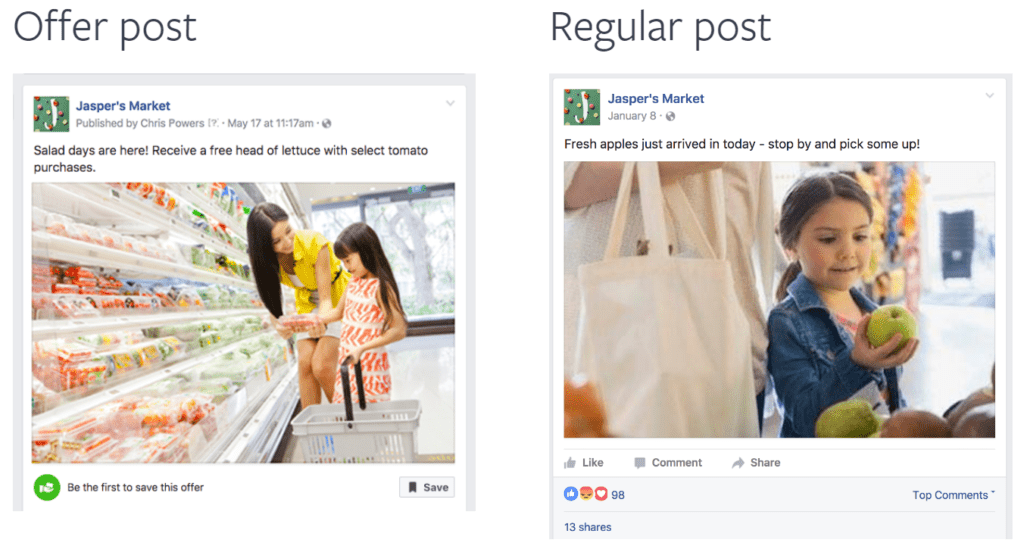 Picture of a facebook offer ad compared to a traditional ad