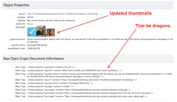 Facebook open graph cache thumbnail update
