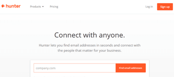 hunter.io home page which is used for inbound marketing to find employees email addresses