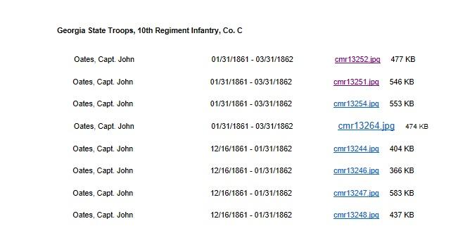 georgia archives document john bates enlistment