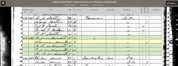 1850 Minerva Underwood census