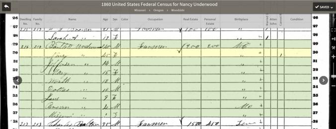 1860 Minerva Underwood census