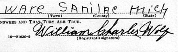 William Charles Wolf signature