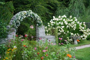 Stone Archway decorated with white flowers as a ceremony location in a wildflower garden at Honeysuckle Hills in the Smoky Mountains