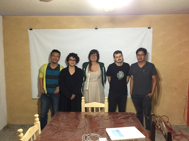 Group picture of membes of the Rasquache Artist Residency at the living room of the Cualtlacualt's residence From the left: Hong-Da Chin, Karina A. Monroy, Christina Margarita Erives, Matthew, Federico (Rico) Cualtlacualt (Sari and David are missing from this picture)