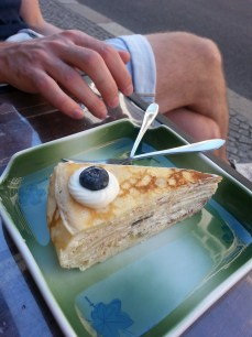 Crepe cake with blueberries