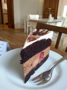 Double chocolate mouse with raspberry cake