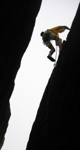 Marijn Mees nearing the top of Gully Bull (HS)