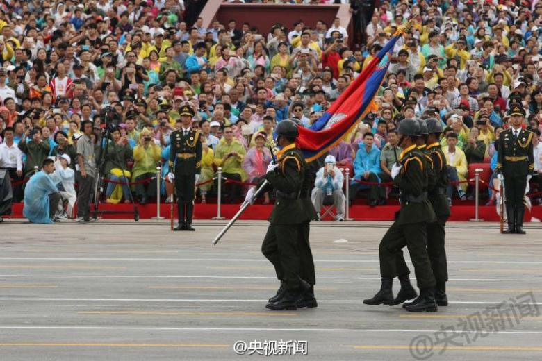 Cambodian contingent at Victory Day rehearsal