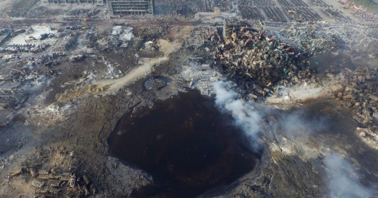 Tianjin blast aftermath. Photo: EPA