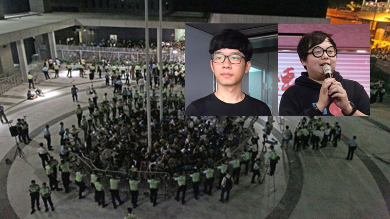Nathan Law (left) and Derek Lam (right) were charged for storming government square.