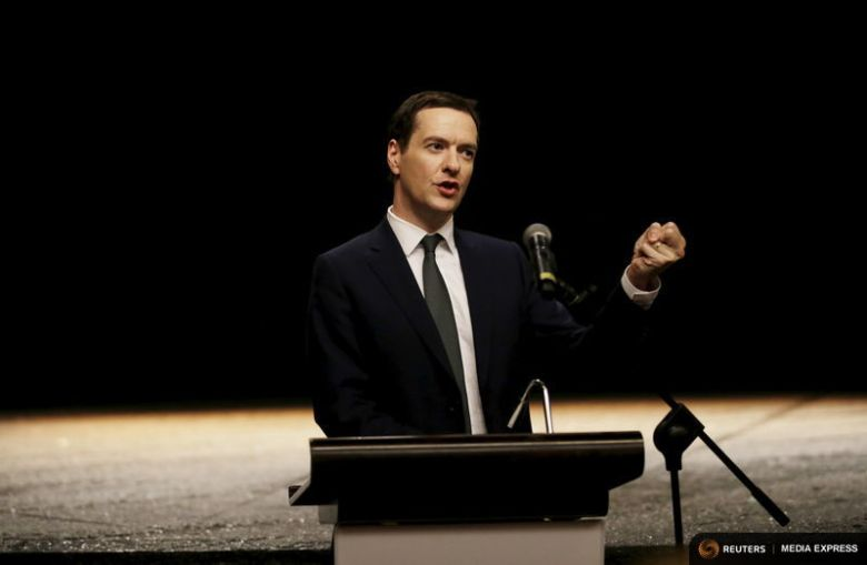Britain's Chancellor of the Exchequer George Osborne delivers a speech after a performance for the UK-China Year of Cultural Exchange at National Theatre of China, in Beijing, September 20, 2015. Photo: Reuters/Jason Lee.