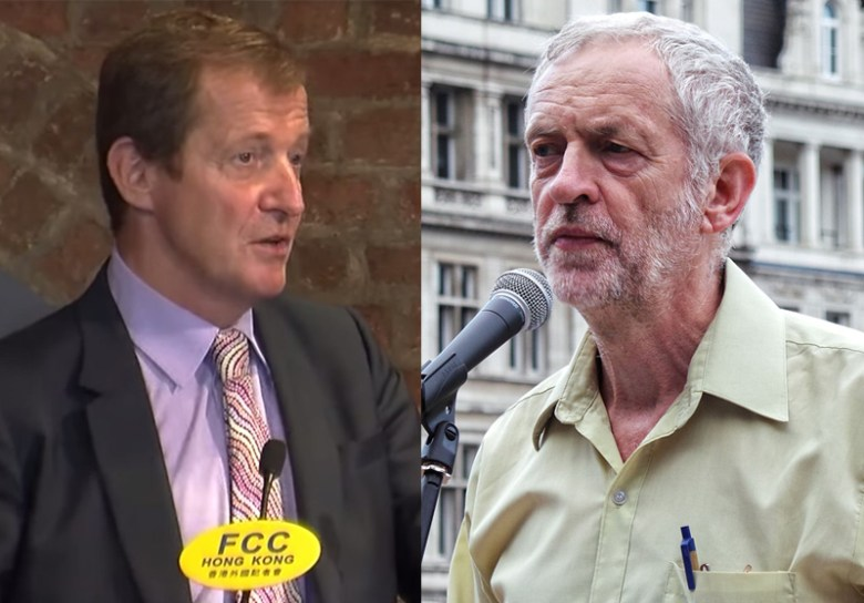 Alistair Campbell (left) and Jeremy Corbyn (right). Photo: FCC HK and Wikimedia Commons.