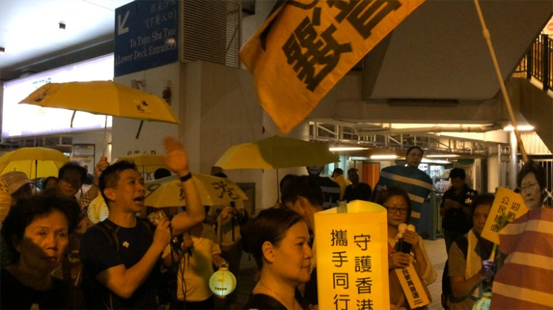 """Protesters joked about """"retaking Civic Square""""."""