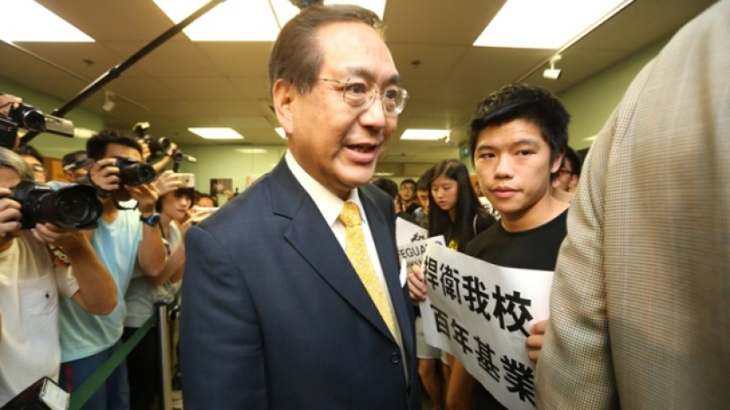 Arthur Li at a HKU Council meeting in July.