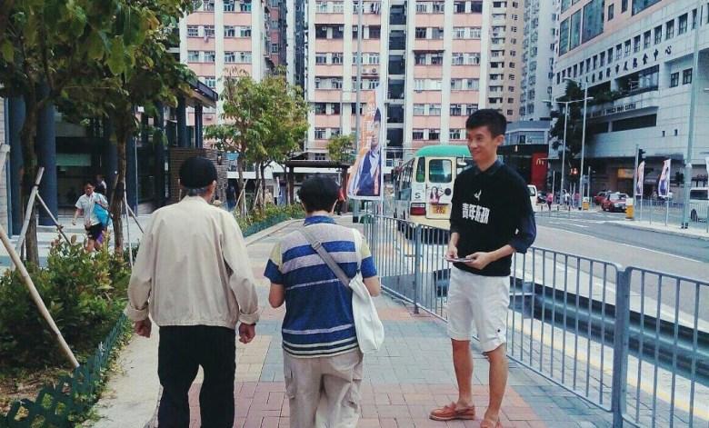 Youngspiration's Baggio Leung campaigning. Photo: Youngspiration via Facebook.