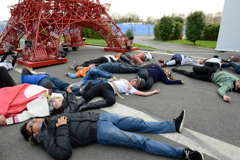 A flashmob protest outside the Paris Climate Change Summit.