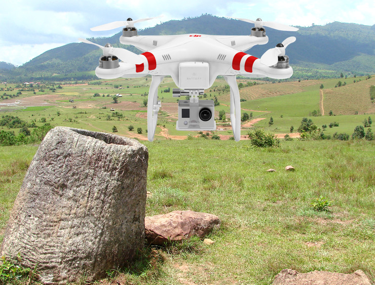 drone laos jars field
