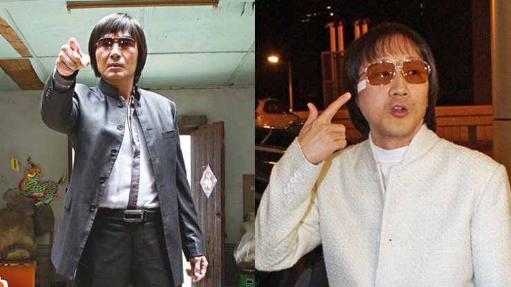 "A character in the movie Overheard 3 (left) and ""Shanghai Boy"" Kwok Wing-hung (right)."
