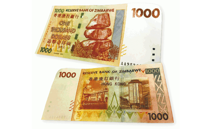 Fake HK$1,000 banknotes forged with Zimbabwean dollars have reemerged in the city.