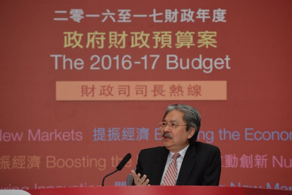 John Tsang at a radio programme on the annual budget.