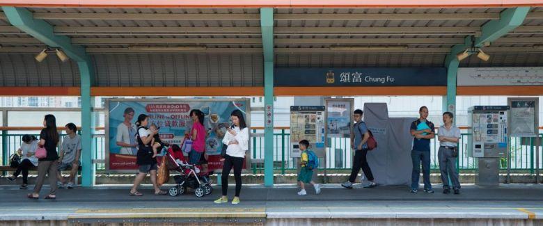 A Light Rail station in Tin Shui Wai.