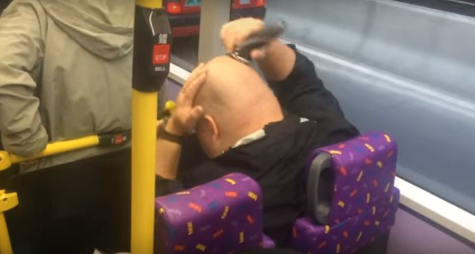 shave head bus man
