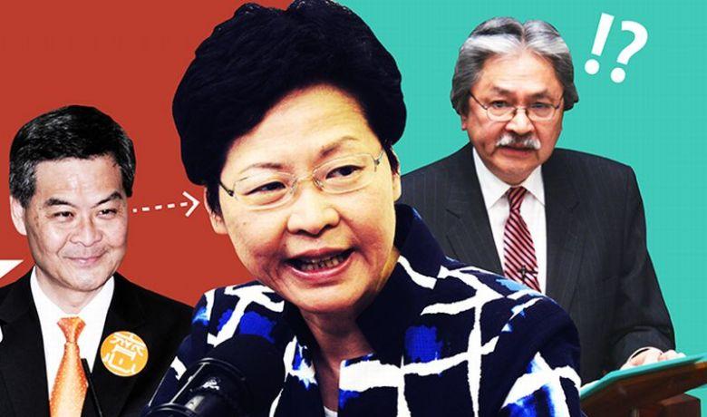 Leung Chun-ying, Carrie Lam and John Tsang.