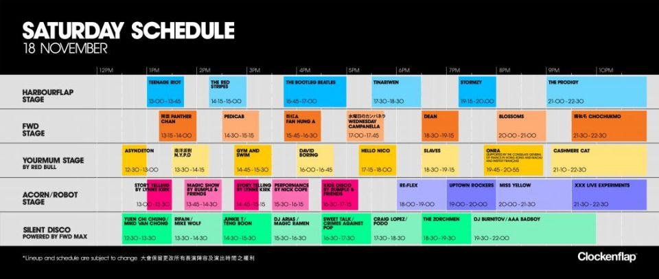 saturday clockenflap 2017 schedule
