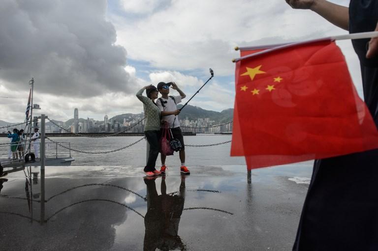 china flag in hong kong