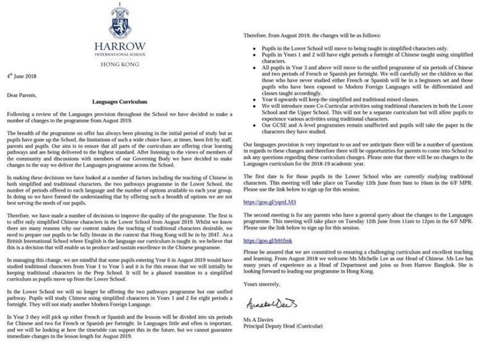 Harrow International School letter