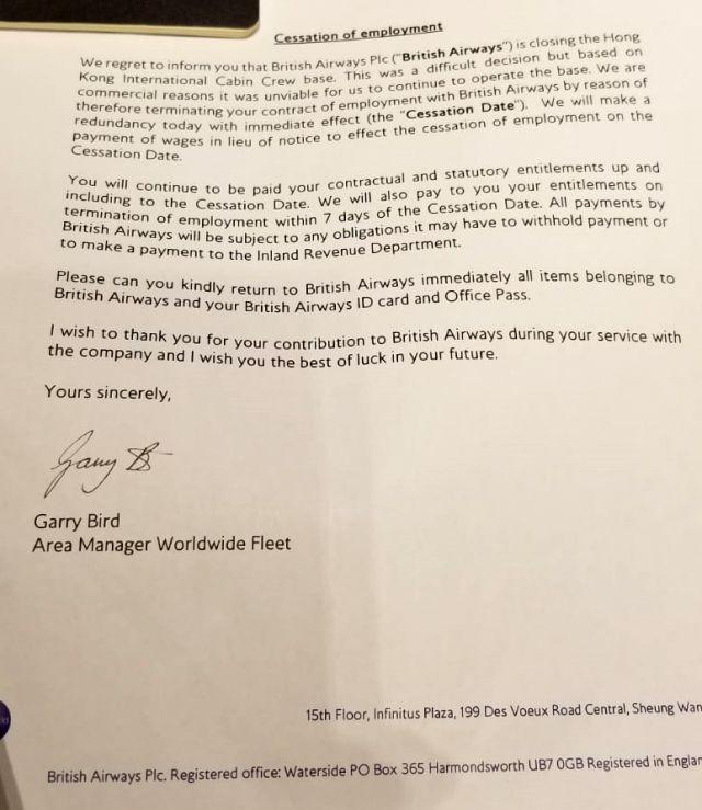 British Airways termination letter Hong Kong cabin crew