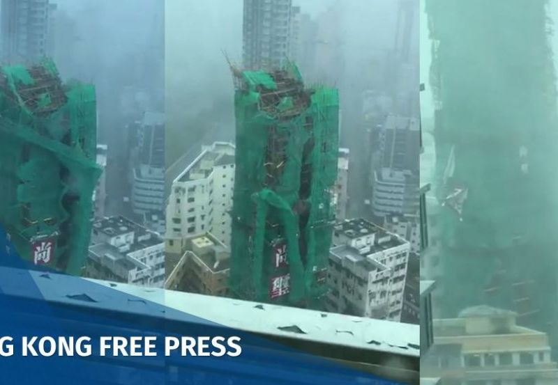 Crane fell Super Typhoon Mangkhut